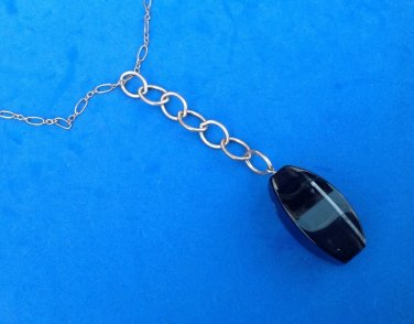 "STERLING SILVER LARIAT NECKLACE LARGE BLACK WITH WHITE STREAKS STONE 22"" LONG"