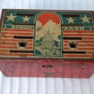 VINTAGE ANTIQUE OLD PAINTED METAL BUDGET BANK  - NO KEY