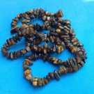 "LOVELY TUMBLED TIGER EYE BEADED NECKLACE 35"" LONG !! GREAT CONDITION"