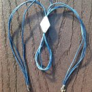 UNUSUAL BLUE CORD STERLING SILVER PENDANT LOOP NECKLACE