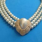 BEIGE ENAMEL RHINESTONE TEARDROP & DOUBLE STRAND PEARLS NECKLACE GREAT CLASP!