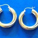 STERLING SILVER & SS WITH GOLD OVERLAY TWIST DESIGN HOOP PIERCED EARRINGS