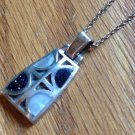 STERLING SILVER MOP MOTHER OF PEARL BLACK DRUZY PENDANT & CHAIN NECKLACE