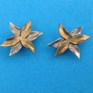 PRETTY STERLING SILVER & SS WITH GOLD OVERLAY PIERCED FLOWER EARRINGS