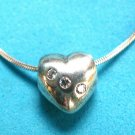 STERLING SILVER & CLEAR STONE FLOATING HEART PENDANT & CHAIN - SWEET !!