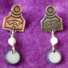ENGRAVED SILVER & DANGLE ARTIST MADE PIERCED EARRINGS