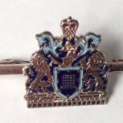 "VINTAGE ENAMEL COAT OF ARMS LIONS & CROWN PIN SIMPLE ""C"" CLASP 1 3/4"" X 1"""