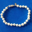"LOVELY ""MONET"" COSTUME PEARL KNOTTED STRAND BRACELET 1/4"" X  7 1/4"". VERY NICE !"