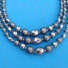 "BEAUTIFUL STEEL GRAY PEARLS & BEADS TRIPLE STRAND NECKLACE UP TO 16"" ""JAPAN""MADE"