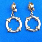 "2 1/2"" X 1 1/4"" GOLD & SILVER TONE HANGING DANGLING CLIP ON EARRINGS"