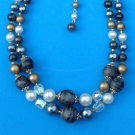 "VINTAGE ""JAPAN"" GRAY & WHITE PEARL CRYSTAL GOLD & SWIRLED 2 STRAND BEAD CHOKER NECKLACE"