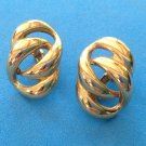 "VINTAGE ""NAPIER"" GOLD TONE SCREW & CLIP ON EARRINGS 1 1/8"" X 3/4"""