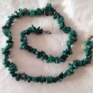 "PRETTY POLISHED CHUNK MALACHITE 18"" LONG NECKLACE"