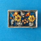 FEMININE LITTLE ORANGE YELLOW CLEAR RHINESTONE PIN ANTIQUED SILVER SETTING 1""