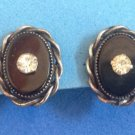 "UNMARKED SILVER SETTING BLACK STONE & RHINESTONE SCREW ON EARRINGS 3/4"" X 5/8"""