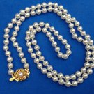 VINTAGE 1950s NEW NEVER WORN COSTUME LIGHT WEIGHT WHITE PEARL STRAND NECKLACE 30""