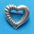 "STERLING SILVER LOVELY STYLIZED HEART PIN 1 1/4"" X 1 1/4"""