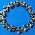 "LOVELY CUT GOLD METAL ROSES IN HEARTS LINK BRACELET 8.25"" X 1/2"" ROMANTIC PIECE!"