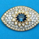 "WELL MADE GOLD TONE CLEAR & DEEP SAPPHIRE BLUE RHINESTONE PIN - 2"" X 1 1/8"""
