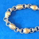 "LOVELY UNMARKED GOLD & SILVER TONE TOGGLE CLOSURE BRACELET 8"" VERY PRETTY"