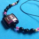 "STRIKING MAGENTA PINK BLACK GOLD GLASS PENDANT ON 19"" CORD NECKLACE"