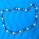 VINTAGE LIGHT & DARK GRAY & WHITE PEARL WITH GOLD TONE BEAD CHOKER NECKLACE 17""