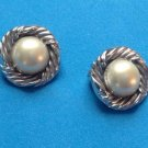 "VINTAGE 3/4"" ""BEAU STERLING"" COSTUME PEARL CLIP ON EARRINGS"