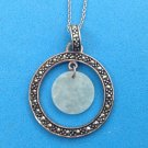 STERLING SILVER, MARCASITE & THIN LIGHT GREEN DISK PENDANT NECKLACE & CHAIN