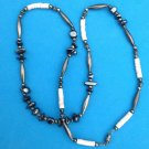 """HEMATITE SILVER & SHELL DISK BEADED NECKLACE 24"""" LONG"""