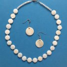 """16 1/2"""" X 1/2""""  MOTHER OF PEARL & CLEAR FACETED CRYSTALS CHOKER & EARRING SET"""