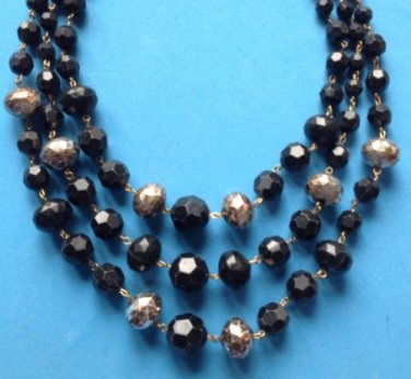 VINTAGE TRIPLE STRAND BLACK & SILVER BEADS NECKLACE, JUST LOVELY !!