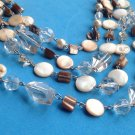 "STUNNING 4 STRAND EARTH TONE & CLEAR FACETED BEAD NECKLACE UP TO 18"" LONG"