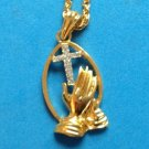 "WORSHIPPING HANDS RHINESTONE CROSS CRUCIFIX GOLD TONE PENDANT NECKLACE 17"" CHAIN"