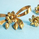 VINTAGE FORSTNER FLOWER GOLD FILL SCREW ON EARRINGS DANGLE PIN SET