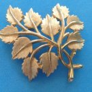 "VINTAGE VERY LARGE CROWN TRIFARI TEXTURED SHINY GOLD TONE LEAVES PIN 2 1/2"" X 2"""