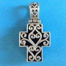 "LOVELY STERLING SILVER & ONYX REVERSIBLE CROSS PENDANT 1 1/2"" X 7/8"""