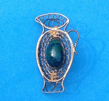 VINTAGE STERLING SILVER, GREEN & BLUE EILAT STONE PIN ISRAEL~ FILIGREED PITCHER