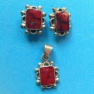 BEAUTIFUL STERLING SILVER RED & BLACK VEINED STONES PENDANT PIERCED EARRINGS