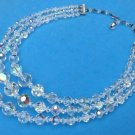 DAZZLING TRIPLE STRAND CUT AURORA BOREALIS CRYSTAL NECKLACE - GRADUATED BEADS