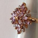 "FANCY STERLING SILVER GOLD OVERLAY AMETHYST CLEAR STONE RING SIZE 7, 1"" HIGH"