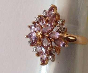"""FANCY STERLING SILVER GOLD OVERLAY AMETHYST CLEAR STONE RING SIZE 7, 1"""" HIGH"""