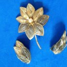 "UNUSUAL ""SPUN GOLD"" PIN & CLIP ON EARRING SET ""GERMANY"" 2.75"" PIN 1.5"" X 1"" EAR."