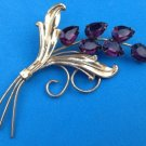 "VINTAGE LARGE STERLING SILVER GOLD OVERLAY DEEP PURPLE STONES FLORAL PIN 3.5""x2"""