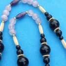 "LOVELY ONYX, GOLD FILL, LAVENDER QUARTZ & AMETHYST BEAD STRAND NECKLACE 26"" LONG"