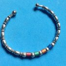 925 ITALY STERLING SILVER & ENAMELED MULTI COLORED BEADS CUFF BRACELET