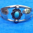 "MEXICAN ALPACA SILVER & TURQUOISE CENTER STONE BRACELET 1"" THICK, ADJUSTABLE"