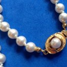 "29"" LONG X 1/4"" STRAND KNOTTED COSTUME WHITE PEARLS WITH PRETTY GOLD TONE CLASP"