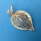 "VINTAGE SILVER TONE B.S.K. TEXTURED AND SHINY AUTUMN LEAF PIN 2 1/4"" x 1 1/4"""