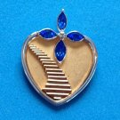 "MEMORIAL PENDANT ""IF TEARS COULD..BRING YOU HOME AGAIN"" GOLD SILVER HEART @ 1"""