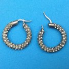 "VINTAGE PIERCED RHINESTONE EARRINGS - DIFFERENT STUDDED HOOPS @ 1"" IN DIAMETER"
